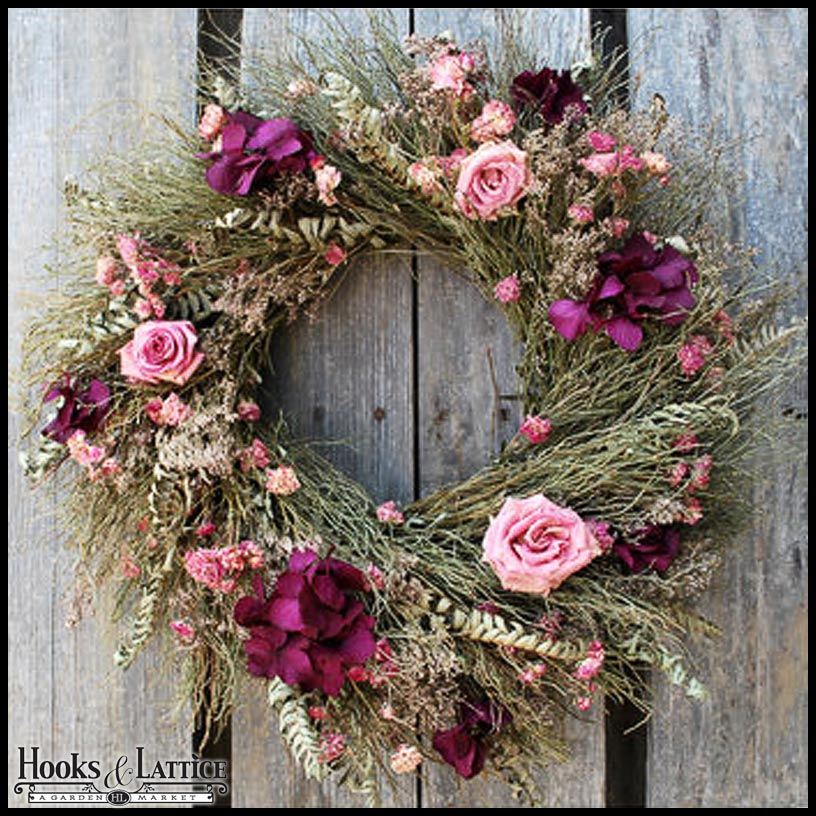 The Rustic Rose Wreath is a favorite for kitchen doors and Mother's Day gifts.