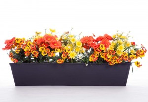Like modern design? This sleek black window box makes the yellow and orange tones pop!