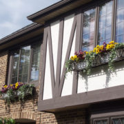Metal Window Boxes on Bavarian Style House
