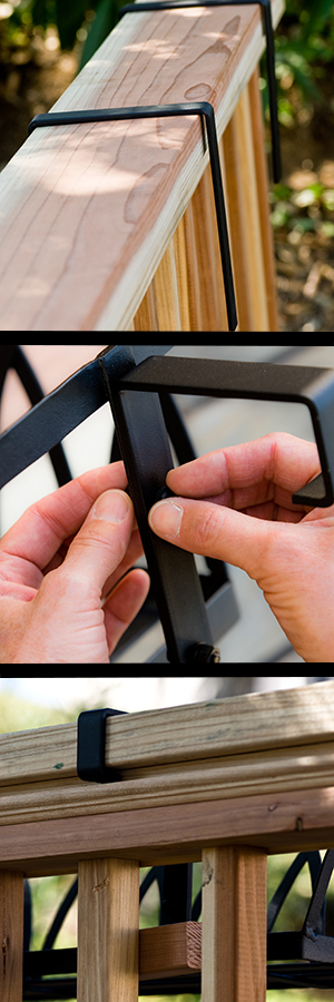 Deck rail brackets attach to the back of the cage easily.