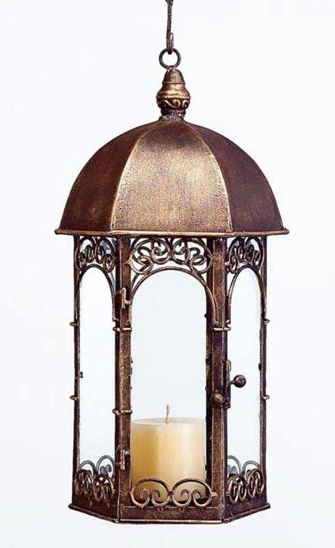 Antiqued Gold Gazebo Hanging Lantern