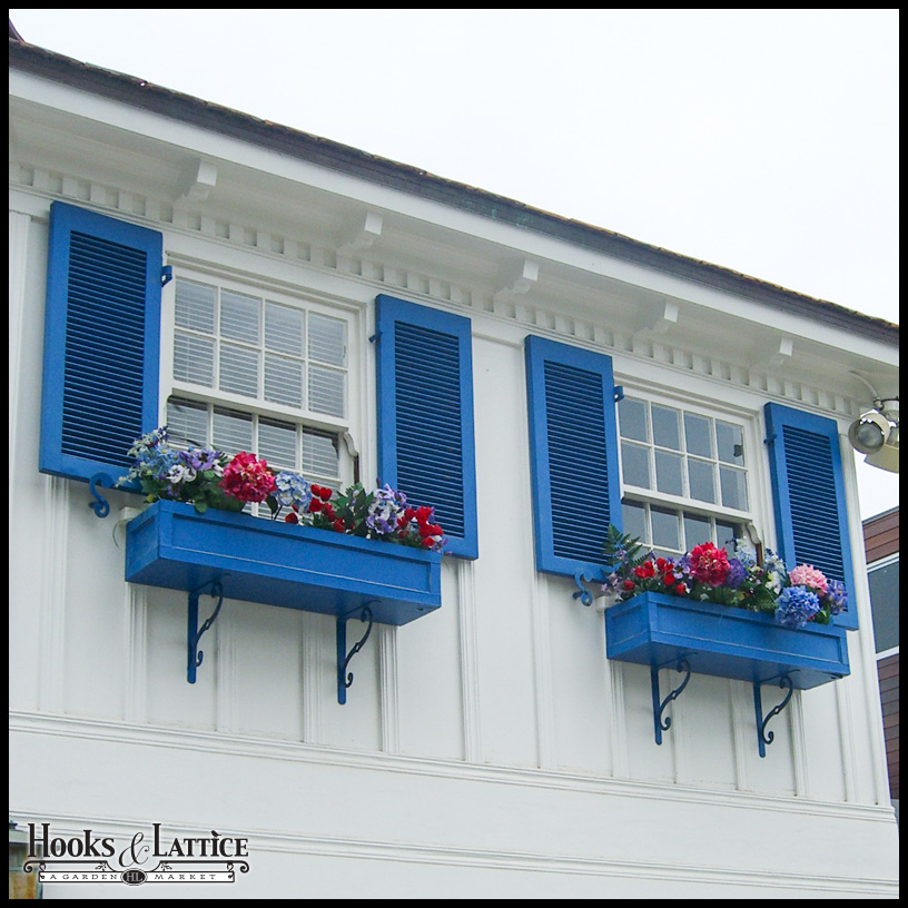 Architectural Louvered Fiberglass Shutters with Matching Window Boxes