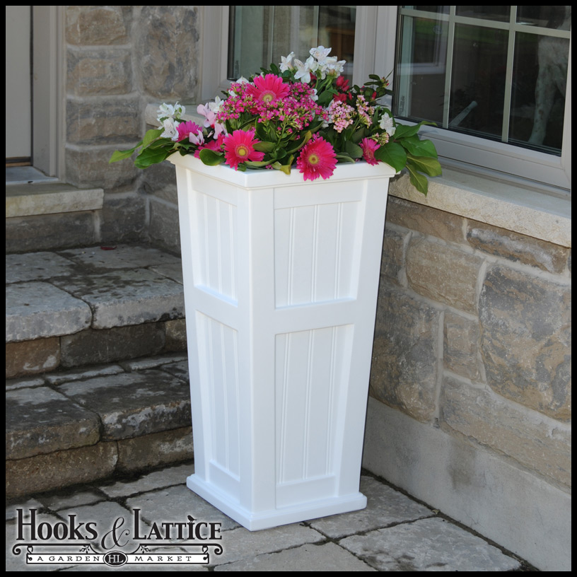 White Promenade Tall Patio Outdoor Planter