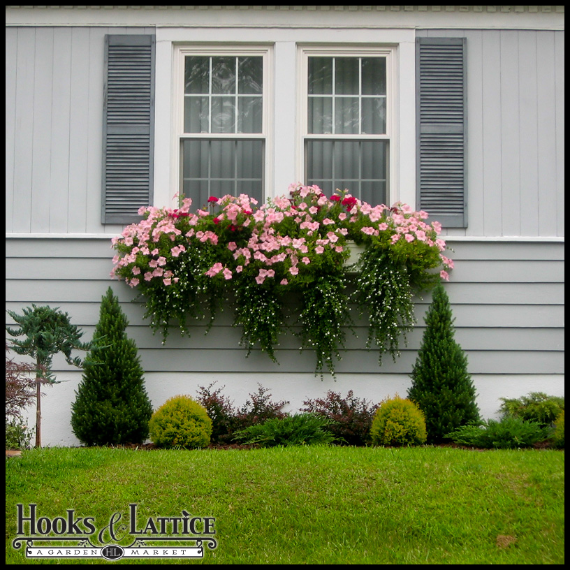 Louvered Exterior Shutters with Window Box