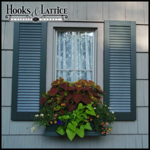 Laguna PVC Composite Window Box with Louvered Exterior Shutters