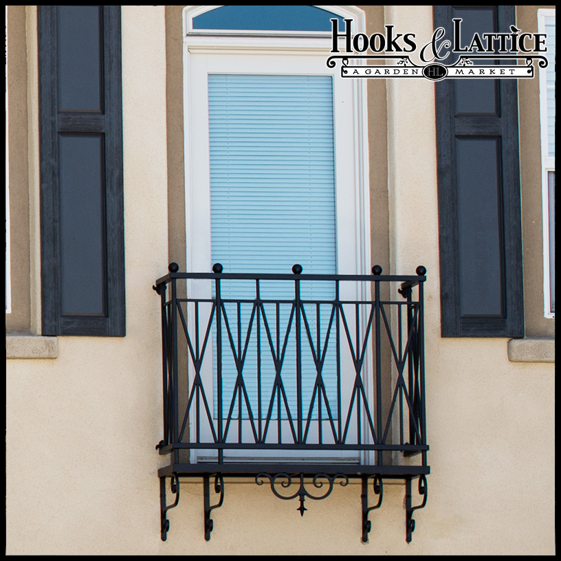 The Westwood Wrought Iron Faux Balcony with Scrolls