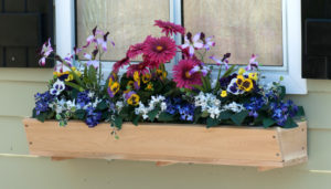 "This cedar flower box is just 6"" deep, so your flowers will draw most of the attention."