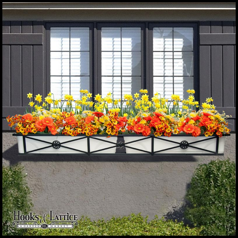 Put multiple Medallion window boxes in a window cage to make an interchangeable curb appeal solution.