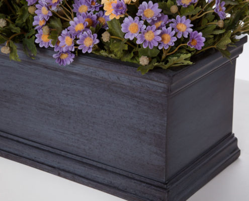 Laguna Fiberglass Window Box - Distressed Pewter Finish