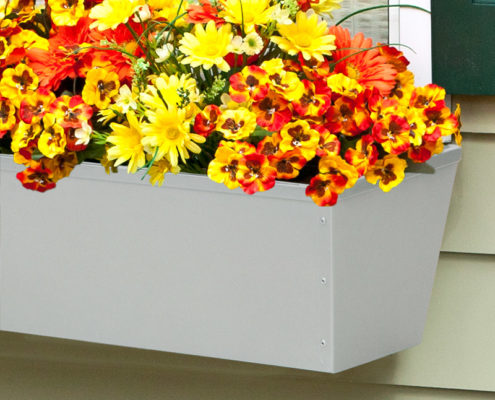 Silver-Tone Tapered Window Box Planter
